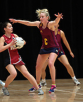 05.10.2012 Southland's Hayley Saunders in action during the netball match between Southland and Counties Manukau at the Lion Foundation Netball Champs in Tauranga. Mandatory Photo Credit ©Michael Bradley.