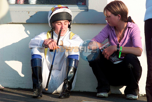 Jockey Paul Scallon and Sandra Comer at the Bellewstown Races on Thursday..Picture: Paul Mohan/Newsfile