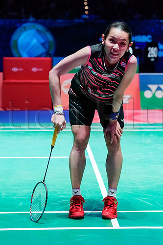 18th March 2018, Arena Birmingham, Birmingham, England; Yonex All England Open Badminton Championships; Tai Tzu Ying (TPE) takes a breather after a very long rally in the womens singles the final against Akane Yamaguchi (JPN)