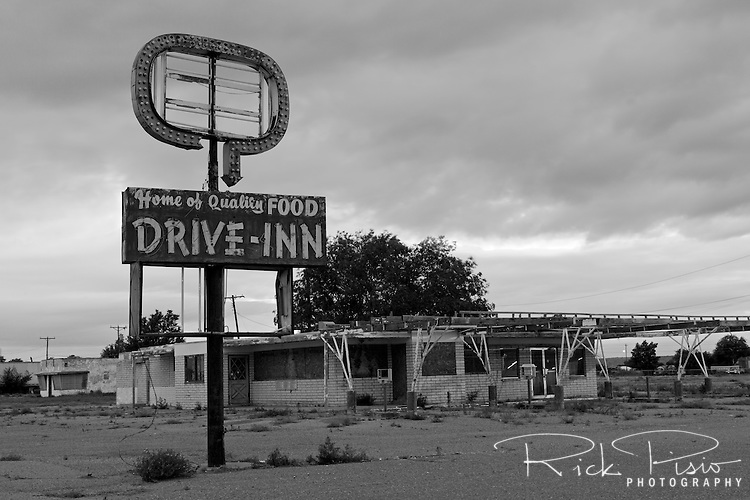 The now closed and decaying Westerner Drive-Inn along Route 66 in Tucamcari, New Mexico no longer serves quality food.