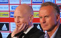FUSSBALL  1. BUNDESLIGA   SAISON  2012/2013  03.07.2012 Pressekonferenz beim FC Bayern Muenchen  Sportvorstand Matthias Sammer mit Vorstandsvorsitzender Karl Heinz Rummenigge (v. li.)