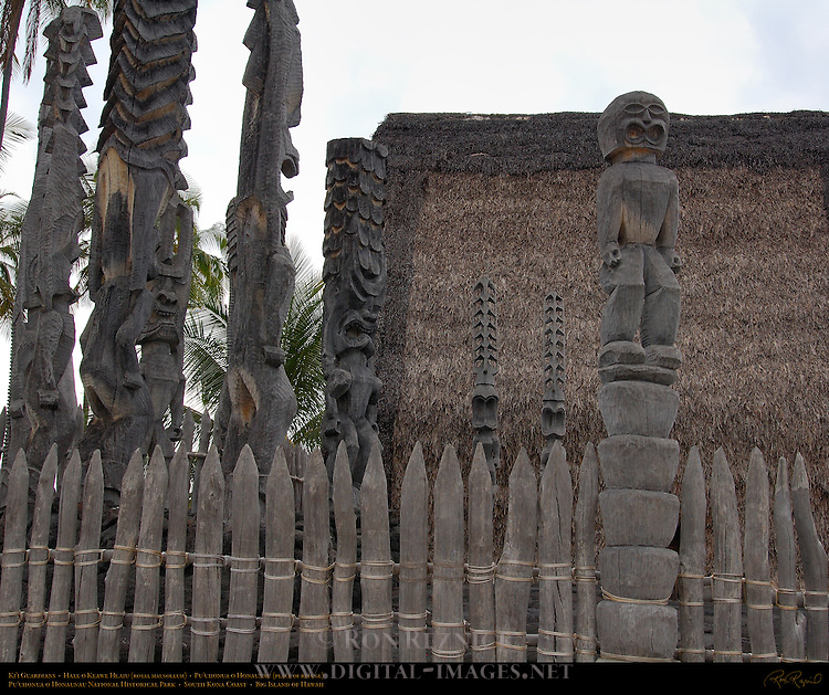 Ki'i Guardians, Hale o Keawe Heaiu, thatched Royal Mausoleum, Pu'uhonua o Honaunau, Place of Refuge, Pu'uhonua o Honaunau National Historical Park, South Kona Coast, Big Island of Hawaii
