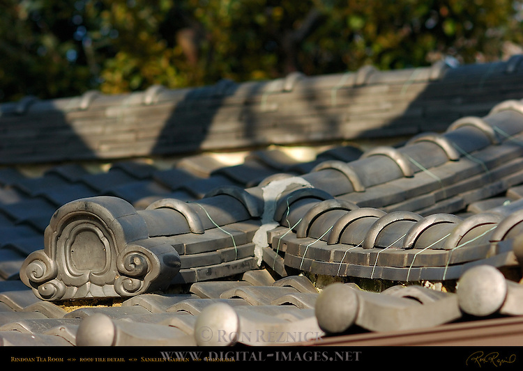 Rindoan Tea House Roof Tile Detail Sankeien Gardens Yokohama Japan