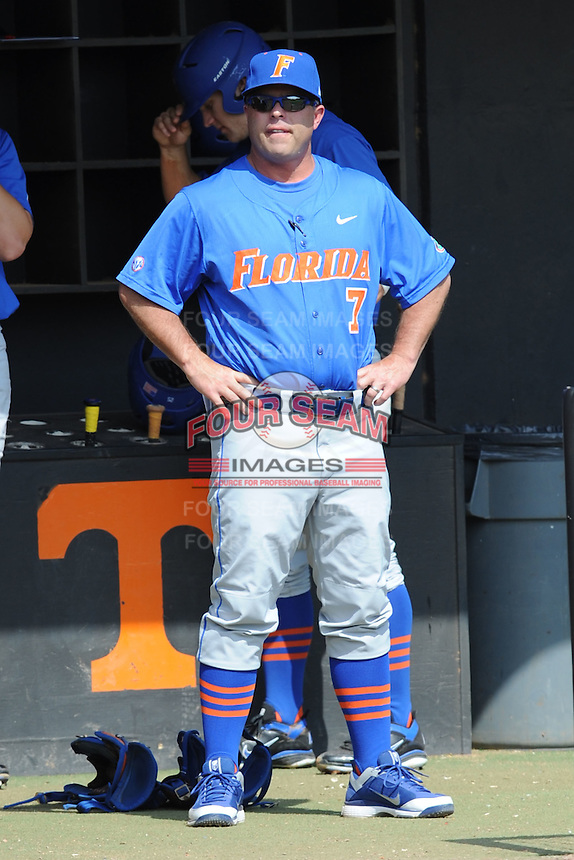 Florida Gators head coach Kevin O'Sullivan #7 during a game against the Tennessee Volunteers at Lindsey Nelson Stadium, Knoxville, Tennessee April 14, 2012. The Volunteers won the game 5-4  (Tony Farlow/Four Seam Images)..