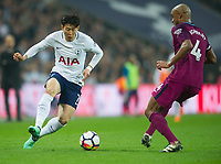 Tottenham's Heung-Min Son during the Premier League match between Tottenham Hotspur and Manchester City at Wembley Stadium, London, England on 14 April 2018. Photo by Andrew Aleksiejczuk / PRiME Media Images.