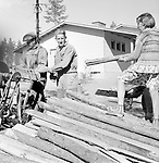 Cutting timber logs to build new wooden homes, Finland 1963
