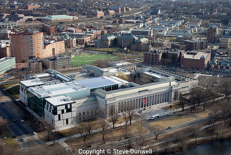 Museum of Fine Arts, aerial view, Fenway, Boston, MA (architect = Norman  Foster  = addition) Evans Wing architect = Guy Lowell