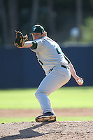 Corey Merrill #21 of the Tulane Green Wave pitches against the Pepperdine Waves during a game at Eddy D. Field Stadium on March 13, 2015 in Malibu, California. Tulane defeated Pepperdine, 9-3. (Larry Goren/Four Seam Images)