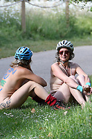World Naked Bike Ride, London<br /> Nude cyclists take part in the 16th annual World Naked Bike Ride (WNBR) event. The riders demonstrate the vulnerability of cyclists and protests against car culture by raising awareness of cyclists on the roads.<br /> London, England on June 08, 2019.<br /> CAP/IH<br /> ©Ivan Harris/Capital Pictures