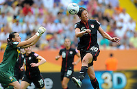 Abby Wambach (r) of team USA and Andreia of team Brazil during the FIFA Women's World Cup at the FIFA Stadium in Dresden, Germany on July 10th, 2011.