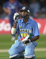 .29/06/2002.Sport - Cricket - .NatWest triangler Series England - Sri Lanka - India.England vs india 50 overs.  Lord's ground.Yuvraj Singh, after gaining the video decision on Englands appeal of a run out...