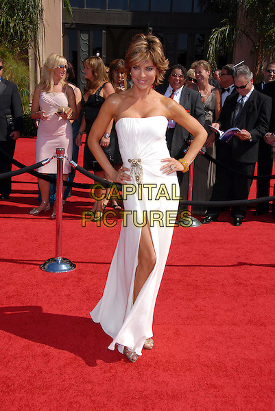 LISA RINNA.Arrivals - 59th Annual Primetime Emmy Awards held at the Shrine Auditorium, Los Angeles, California , USA,.16 September 2007..full length strapless white dress hands on hips slit.CAP/ADM/BP.©Byron Purvis/AdMedia/Capital Pictures.