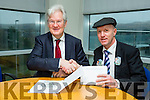 ELECTION TIME: Michael Healy-Rae handed in his nomination for  registering for the up and coming general election at the court offices in  Centrepoint Tralee on Tuesday. Pictured here with Padraig Burke County Regristar