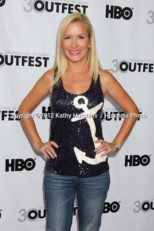 """LOS ANGELES - JUL 22:  Angela Kinsey arrives agt the 2012 Outfest Closing Night Gala of """"STRUCK BY LIGHTNING"""" at J.A. Ford Amphitheatre on July 22, 2012 in Los Angeles, CA"""