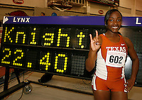 Univ. of Texas Freshman Bianca Knight set a Collegite Record in the 200m dash with a time of 22.40sec. at the 2008 NCAA Div. 1 Indoor Track and Field Championship on Friday, March 14, 2008 at the Randall Tyson Track Center on the campus of the Univ. of Arkansas,Fayetteville,AR. Photo by Errol Anderson,TheSporting Image.