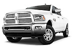 Stock pictures of low aggressive front three quarter view of a 2015 Ram 2500 Laramie Mega Cab 4 Door Truck Low Aggressive