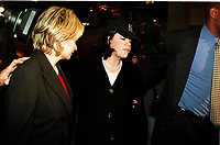 ***FILE PHOTO*** Bill Clinton Has Not Apologized To Monica Lewinsky And Claims Did The Right Thing Staying In Office.<br /> <br /> Washington, DC - January 23, 1999 -- Monica Lewinsky (wearing hat) walks through the lobby of the Mayflower Hotel in Washington, DC on 23 January, 1999.  She is scheduled to meet U.S. House Impeachment managers on 24 January, 1999.<br /> CAP/MPI/RS<br /> &copy;RS/MPI/Capital Pictures