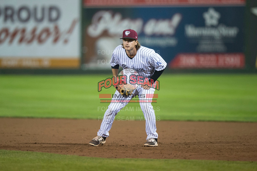Idaho Falls Chukars first baseman Reed Rohlman (19) during a Pioneer League game against the Billings Mustangs at Melaleuca Field on August 22, 2018 in Idaho Falls, Idaho. The Idaho Falls Chukars defeated the Billings Mustangs by a score of 5-3. (Zachary Lucy/Four Seam Images)