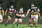 Conan O'Donnell looks to take on his opposite number Reuben O'Neill. Mitre 10 Cup rugby game between Counties Manukau Steelers and Taranaki Bulls, played at Navigation Homes Stadium, Pukekohe on Saturday August 10th 2019. Taranaki won the game 34 - 29 after leading 29 - 19 at halftime.<br /> Photo by Richard Spranger.