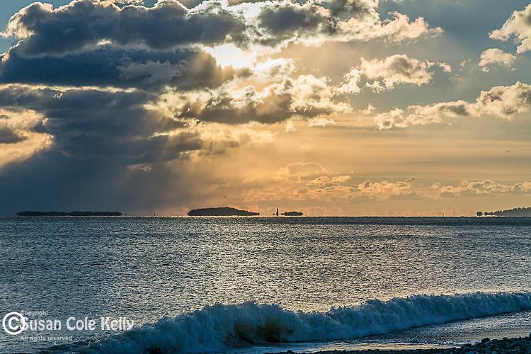 A winter sunrise over the Boston Harbor Islands from Winthrop, Massachusetts, USA