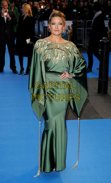 "KATE HUDSON.""Fool's Gold"" UK film premiere, Vue Leicester Square, London, England..April 10th, 2008.full length green gold silk satin patterned pattern kimono dress sleeves hand on hip tassels .CAP/CAN.©Can Nguyen/Capital Pictures."