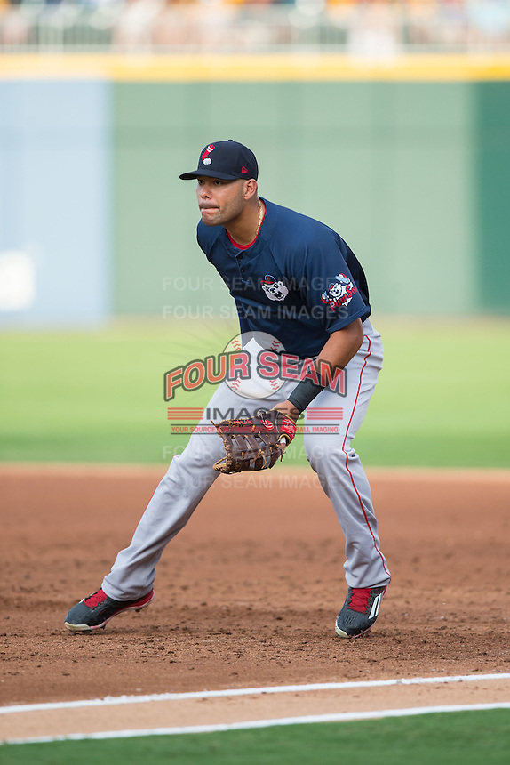 Pawtucket Red Sox first baseman Chris Dominguez (17) on defense against the Charlotte Knights at BB&T BallPark on July 6, 2016 in Charlotte, North Carolina.  The Knights defeated the Red Sox 8-6.  (Brian Westerholt/Four Seam Images)