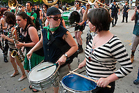 New York, NY -  27 May 2011 - The Rude Mechanical Orchestra, an activist marching band, performs outside Manhattan Criminal Court on Center Street,..A coalition of concerned New Yorkers, feminists, women's rights advocates, human rights advocates, gathered outside Manhattan Criminal Court at 100 Centre Street to protest the acquittal of two New York City police officers tried for rape.Kenneth Morreno and Franklin Mata were charged with raping a woman in 2008 but were acquitted of the more serious charge. However, the officers were found guilty of the much lesser charges of official misconduct. They are scheduled to be sentenced June 29 and could face up to two years in prison, though they might only get probation.