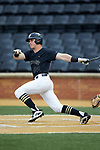 Chris Lanzilli (24) of the Wake Forest Demon Deacons follows through on his swing against the Virginia Cavaliers at David F. Couch Ballpark on May 18, 2018 in  Winston-Salem, North Carolina.  The Cavaliers defeated the Demon Deacons 15-3.  (Brian Westerholt/Sports On Film)