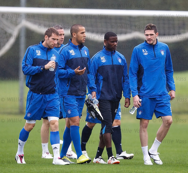 Kirk Broadfoot, Madjid Bougherra, Maurice Edu and Kyle Lafferty walk out to training