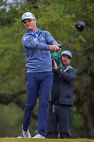 Zach Johnson (USA) watches his tee shot on 2 during Round 3 of the Valero Texas Open, AT&amp;T Oaks Course, TPC San Antonio, San Antonio, Texas, USA. 4/21/2018.<br /> Picture: Golffile   Ken Murray<br /> <br /> <br /> All photo usage must carry mandatory copyright credit (&copy; Golffile   Ken Murray)