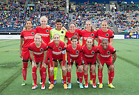 Seattle, WA - Saturday, May 14, 2016: The starting XI for the Portland Thorns FC. The Portland Thorns FC and the Seattle Reign FC played to a 1-1 tie during a regular season National Women's Soccer League (NWSL) match at Memorial Stadium.