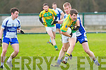 Finuge's Conor Fitzmaurice being challenged by Pat Fitzgerald of Castleisland Desmonds