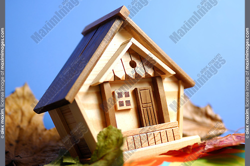 Little wooden house model under blue sky
