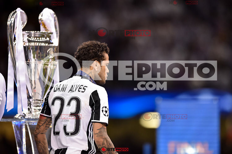 Daniel Alves of Juventus walks by the Champions League Trophy during the UEFA Champions League Final match between Real Madrid and Juventus at the National Stadium of Wales, Cardiff, Wales on 3 June 2017. Photo by Giuseppe Maffia.<br /> <br /> Giuseppe Maffia/UK Sports Pics Ltd/Alterphotos /nortephoto.com