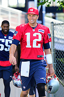 July 28, 2017: New England Patriots quarterback Tom Brady (12) walks to the practice fields for the New England Patriots training camp held at Gillette Stadium, in Foxborough, Massachusetts. Eric Canha/CSM