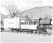 RGS Goose #2 right front view with plow on front end.  Engine in background has &quot;LuLu Belle&quot; written on cab.<br /> RGS  Colorado Railroad Museum, Golden, CO  Taken by Payne, Andy M. - 3/2/1974