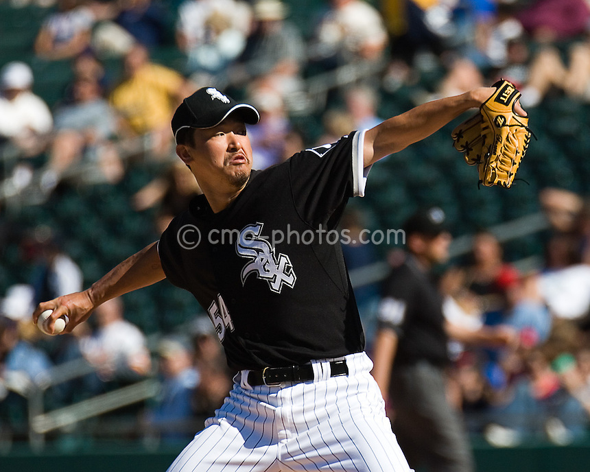 Mar 18, 2008; Tucson, AZ, USA; Chicago White Sox pitcher Tomo Ohka throws a pitch during a game against the San Diego Padres at Tucson Electric Park.  The Padres beat the White Sox 5-0.