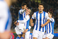 Real Sociedad's Carlos Vela (l) and Antoine Griezman celebrate goal during La Liga match.November 23,2013. (ALTERPHOTOS/Mikel)