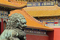 Lion head statue and Architecture of the Forbidden City, Beijing, China