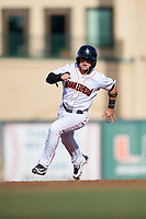 Jupiter Hammerheads third baseman Luis Pintor (3) runs the bases during a game against the Palm Beach Cardinals on August 4, 2018 at Roger Dean Chevrolet Stadium in Jupiter, Florida.  Palm Beach defeated Jupiter 7-6.  (Mike Janes/Four Seam Images)