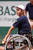 8th June 2017, Roland Garros, Paris, France; French Open tennis championships;  Shingo Kunieda (Japan) plays Stephane Houdet (FRA)
