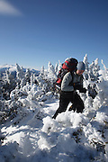 Appalachian Trail - Snowshoer on the Carter-Moriah Trail in winter conditions near Middle Carter Mountain in the White Mountains, New Hampshire.