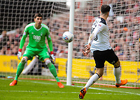 Derby County's forward Tom Lawrence (10) vollys across the goal during the Sky Bet Championship match between Nottingham Forest and Derby County at the City Ground, Nottingham, England on 10 March 2018. Photo by Stephen Buckley / PRiME Media Images.