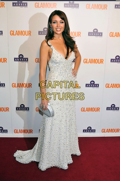 DANNII MINOGUE.Inside Arrivals at the Glamour Women of the Year Awards 2008 held at Berkeley Square Gardens, London, England,.3rd June 2008.full length long white silver sparkly dress clutch bag beaded hand on hip.CAP/PL.©Phil Loftus/Capital Pictures