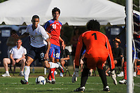 Tony Taylor (13) of the USA passes the ball setting up a goal. The US U-20 Men's National Team defeated the U-20 Men's National Team of Costa Rica 2-1 in an international friendly during day four of the US Soccer Development Academy  Spring Showcase in Sarasota, FL, on May 25, 2009.