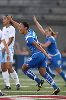 Angela Hucles celebrates after scoring her second goal of the season. The Boston Breakers defeated the Chicago Red Stars 1-0, at Harvard Stadium, in Cambridge, MA, Wednesday, July 15, 2009.