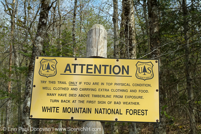 Attention - Warning sign along  Lowe's Path in the Northern Presidential Range of the White Mountains, New Hampshire