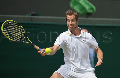 27.06.2013. The Wimbledon Tennis Championships 2013 held at The All England Lawn Tennis and Croquet Club, London, England, UK.  Richard Gasquet (FRA) [9] v Go Soeda (JPN) .