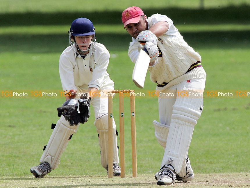 S Hafeez of Harold Wood hits out watched by J Walsh - Harold Wood CC vs Horndon-on-the-Hill CC - Essex Sunday Cricket League - 17/06/07 - MANDATORY CREDIT: Gavin Ellis/TGSPHOTO - SELF-BILLING APPLIES WHERE APPROPRIATE. NO UNPAID USE -  Tel: 0845 0946026
