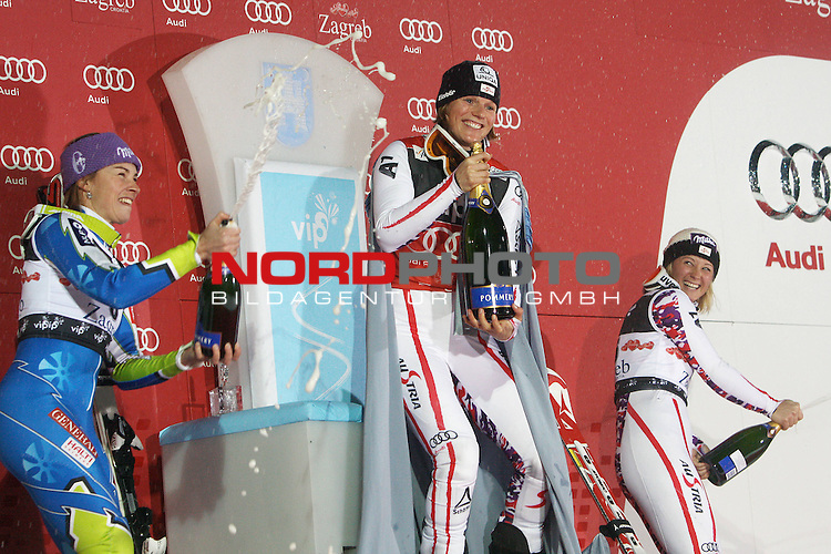 03.01.2012., Sljeme, Zagreb, Croatia - 2nd run of Audi FIS Ski World Cup Vip Snow Queen Trophy ladies' slalom race. <br /> Winner of Snow Queen Trophy Marlies Schild, second placed Tina Maze and third place Michaela Kirchgasser.<br /> Foto &copy; nph / Pixsell / Jakus